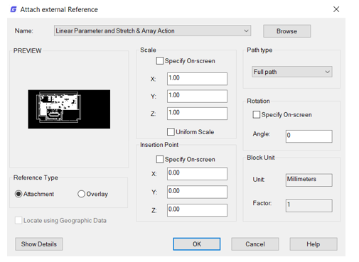 Sự khác biệt giữa lựa chọn Attachment và Overlay khi sử dụng tệp tham chiếu Reference